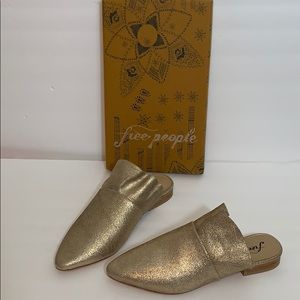 Free People Sienna Slip On Gold Shoes NWT